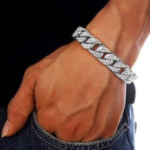"""NEW! Mens Curb """"Cuban"""" Silver Wrist Chain"""
